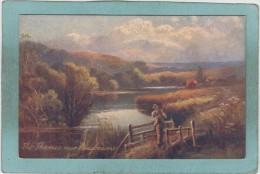 """THE  THAMES  NEAR  PANGBOURNE   -  TUCK´S  """" OILETTE """"  -  BELLE CARTE     - - Inghilterra"""