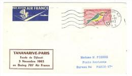 VEND LETTRE ESCALE DJIBOUTI , VOL TANANARIVE - PARIS , BOEING 707 AIR FRANCE , 3 / 11 / 1963 !!!! - Côte Française Des Somalis (1894-1967)