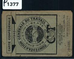 FRANCE CARTE DE LA CGT AVEC VIGNETTES  D ADHESION  SYNDICAT DE PARFUMERIE  VALLAURIS   JANVIER 1946  JOLI DOCUMENT - Commemorative Labels