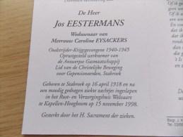 Doodsprentje Jos Eestermans Stabroek 16/4/1918 Kapellen Hoogboom 15/11/1998 ( Caroline Eysackers ) - Religion & Esotericism