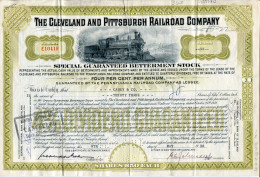ACCIONES TITULOS SHAREHOLDING TITRES 33 SHARES THE CLEVELAND AND PITTSBURGH RAILROAD COMPANY YEAR 1958 TBE GECKO - Chemin De Fer & Tramway