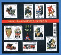 Année 2011 - Bloc Feuillet 10 Timbres - Réf. F4582 - Sapeurs Pompiers De Paris - Neuf** - Neufs