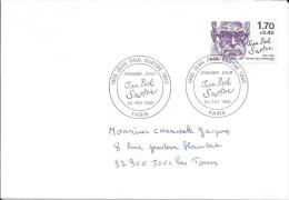 TIMBRE N° 2357 - IER JOUR D'EMISSION FRANCE  -  1985  -  JEAN PAUL SARTRE  -  PARIS - SEUL SUR LETTRE AU TARIF - FDC