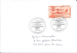 TIMBRE PA N° 58 - IER JOUR D'EMISSION FRANCE  -  1985  -  L'HYDRAVION  CAMS  53  -  MARSEILLE COTE 22€ - Postmark Collection (Covers)