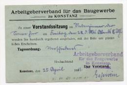 1911 - ENTIER GERMANIA De KONSTANZ Avec REPIQUAGE - Entiers Postaux