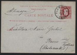 Obl. FLEMALLE Sur Entier Carte Postale 10c Vers L'All. 1885 (552) - Entiers Postaux