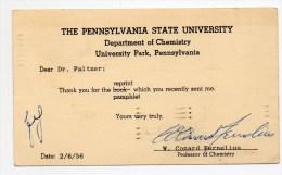 "1956 - ENTIER Avec REPIQUAGE ""THE PENNSYLVANIA STATE UNIVERSITY / DEPARTEMENT OF CHEMISTRY / PENNSYLVANIA"""