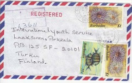 Barbados Airmail Cover To Finland, Stamps, Oceana  (Z-8673) - Barbades (1966-...)