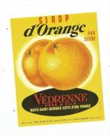 étiquette ,sirop D´ORANGE , Védrenne Père & Fils , Nuits St Georges - Etiquettes
