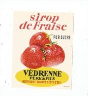 étiquette , Sirop De Fraise , Pur Sucre ,  Védrenne Père & Fils , Nuits St Georges - Etiquettes