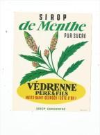étiquette , Sirop De Menthe , Pur Sucre ,  Védrenne Père & Fils , Nuits St Georges , Sirop Concentré - Etiquettes
