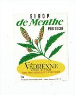 étiquette , Sirop De Menthe , Pur Sucre ,  Védrenne Père & Fils , Nuits St Georges , 1 Litre - Etiquettes