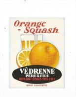 étiquette , ORANGE - Squash ,  Védrenne Père & Fils , Nuits St Georges , Sirop Concentré - Etiquettes