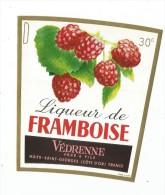 étiquette , Liqueur De FRAMBOISE,  Védrenne Père & Fils , Nuits St Georges , 30° - Etiquettes