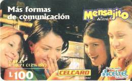 TARJETA DE HONDURAS DE 100 LEMPIRAS  DE CELCARD MENSAJITO - Honduras