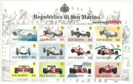 SAN MARINO - FOGLIETTO - ANNO 1998  50° ANNIVERSARIO DELLA FERRARI - AUTOMOBILISMO - Blocchi & Foglietti