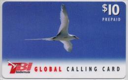 BERMOUDA ISL. PHONECARD BIRD  PREPAID 10$-USE D