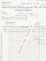 Facture 1909 BOIS-DU-LUC - SOCIETE CIVILE DES CHARBONNAGES DU BOIS -DU-LUC � HOUDENG-AIMERIES