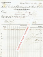 Facture 1909 BOIS-DU-LUC - SOCIETE CIVILE DES CHARBONNAGES DU BOIS -DU-LUC à HOUDENG-AIMERIES - Belgique