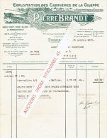 Facture De 1933 - DOLHAIN - PIERRE BRANDT - Exploitation Des Carrières De La Gileppe - Belgique