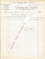 """Facture 1895 VERVIERS -  CATHERINE CLOOT - """"A LA VILLE DE PARIS """" - Chaussures De Luxe & Ordinaires - Belgique"""