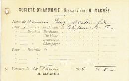 Reçu De 1895 VERVIERS - SOCIETE D´HARMONIE - Restaurateur : H. MAGNEE - Belgique