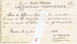 Reçu De 1889 VERVIERS - LE CAVEAU VERVIETOIS - Société Littéraire - Belgium