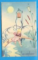 OV805, Buon Compleanno,  Bon Anniversaire, Jeune Fille, Pleine Lune, Lampion, Pont, Circulée Sous Enveloppe 1947 - Birthday