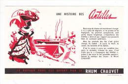 Buvard RHUM CHAUVET Histoire Des Antilles VI 6 Femme Fruits Port Bateau Paquebot - Liquor & Beer