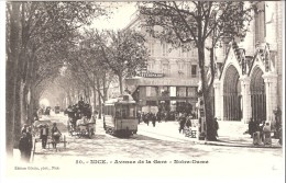 Nice (Alpes Maritimes)-Précurseur-Avenue De La Gare-Notre-Dame-Tram-Tramway-Attelage-Diligence-Cabinet Vétérinaire - Stadsverkeer - Auto, Bus En Tram