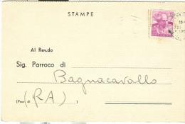 NOTIFICAZIONE DI MATRIMONIO, 1966, CARTOLINA DA PEDIANO, IMOLA, PER BAGNACAVALLO, - Nozze
