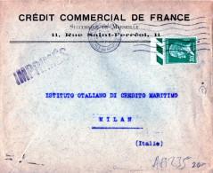 BUSTA POSTALE PUBBLICITARIA-CREDIT COMMERCIAL DE FRANCE-25-10-1928-SPEDITA A MILANO-ITALIA - Storia Postale