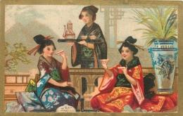 CHROMO DOREE THEME CHINE JAPON  DOS VIERGE - Chromos