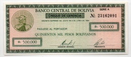 BOLIVIE : 500000 Pesos 1984 (unc) - Bolivia