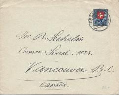 SWITZERLAND 1924 30c BLUE COVER TO CANADA - Storia Postale
