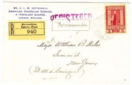 Österreich. Post In Jerusalem 2 Pia. Auf  R-Brief Mit Siegel Nach Summit New-Jersey USA - Levante-Marken
