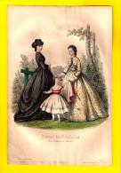 GRAVURE DE MODE Sept 1863 JOURNAL DES DEMOISELLES Fillette Au Tennis Chapeau Litho Lithographie Engraving Eau-forte R90 - Estampes & Gravures