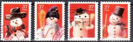 United States 2002 Christmas -  Snowmen - Sc # 3676-79 - Mi 3707-710 BA - Used - Vereinigte Staaten