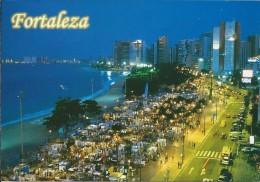 BR.- Fortaleza - Ceara - Brasil. Vista Noturna Da Av. Beira Mar. Feira De Artesanato.. 2 Scans - Fortaleza