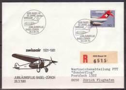 Schweiz , Brief , Jubiläumsflug Basel - Zürich , 1981 Swissair 1931 - 1981 , Mi. Nr. 1195 - Posta Aerea