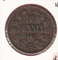 FINLAND 10 PENNIA 1867 KM5.1 NICE QUALITY - Finlande