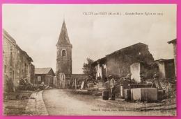 Cpa Vilcey Sur Trey Grande Rue Et Eglise 1919 Carte Postale 54 Lorraine Proche Villers Sous Prény Vandières - Autres Communes