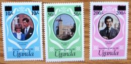 1981 Uganda MNH Stamp Royal Wedding Set No ROY-424 - Uganda (1962-...)
