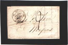Pli:   Mende - Lozère - Février 1832  -  Vers Meyrueis - Marcophilie (Lettres)