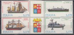 Repubblica Italiana, 1977 - Costruzione Navi Italiane, Blocco Di 4 - Nr.1382/1385 MNH** - 1946-.. Republiek