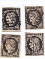 France  Ceres émission 1849, N 3, Quatre Exemplaires Oblitération Grille, Nuances - 1849-1850 Ceres