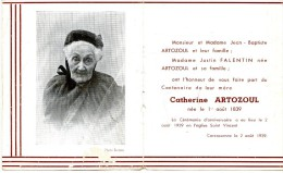 Faire Part Centenaire Catherine ARTOZOUL 1939 - Carcassonne - Faire-part