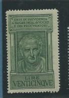 MARCA DA BOLLO - PREVIDENZA AVVOCATI E PROCURATORI - LIRE VENTICINQUE - NUOVO PIENA GOMMA - 1900-44 Victor Emmanuel III