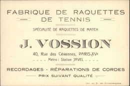 SPORTS - TENNIS - Carte De Fabrique De Raquettes De Tennis - VOSSION à Paris XV - Cartes De Visite
