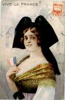 Belle  Carte   -    Belle    Jeune  Femme   ,patriotique   ,Vive La France         C215 - Women